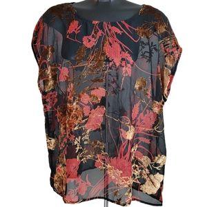 SOYACONCEPT Blouse Black Orange Floral Sheer